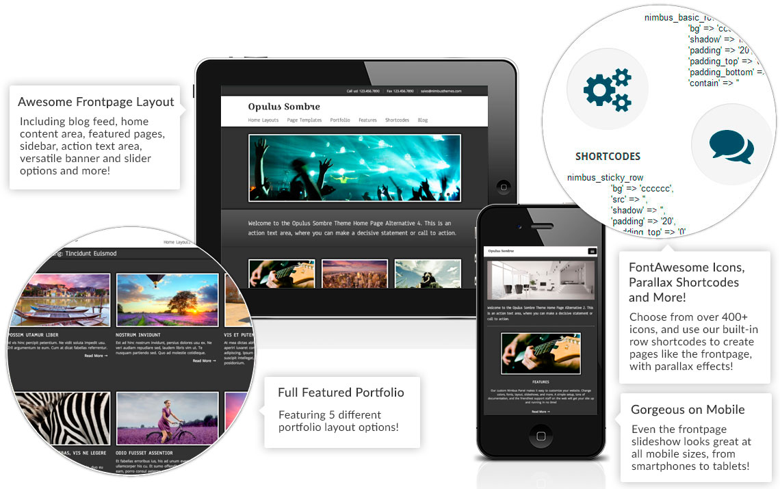 Opulus Sombre Theme Features