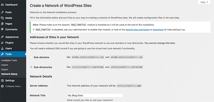 Creating a network of sites on a fresh WordPress installation