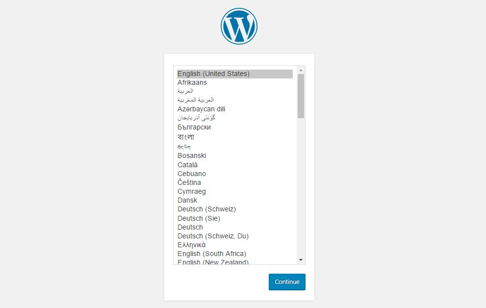 Select language screen