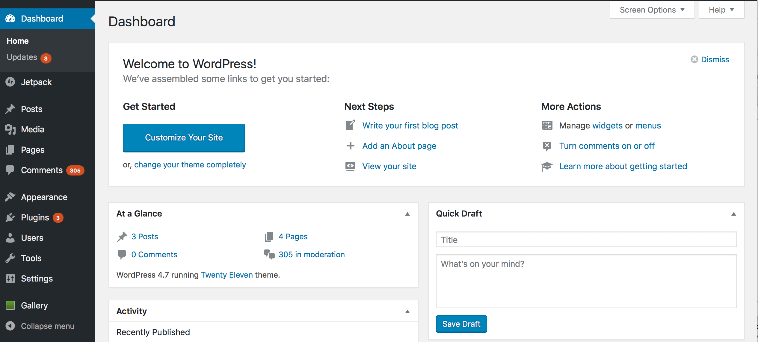 A view of both main areas of the WordPress Dashboard