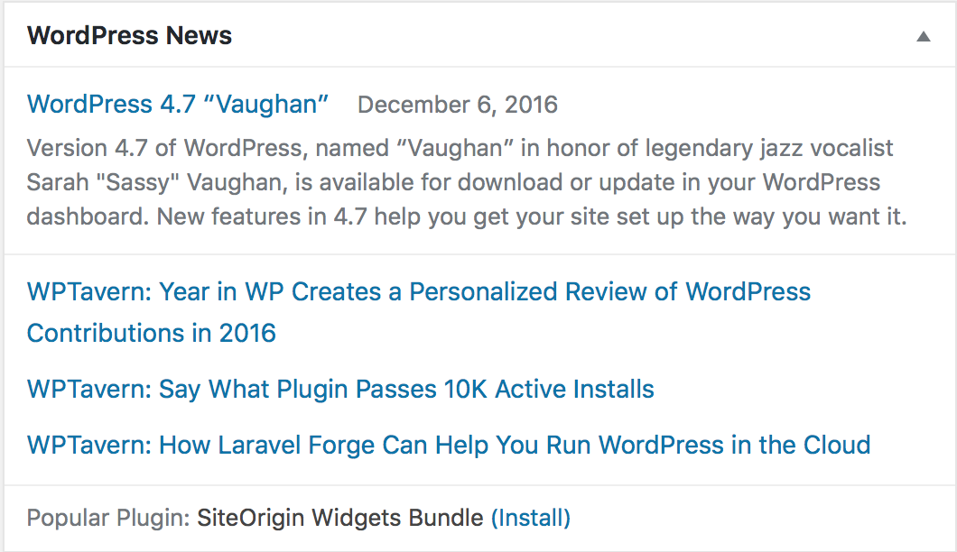 An example of how the WordPress news widget is presented.