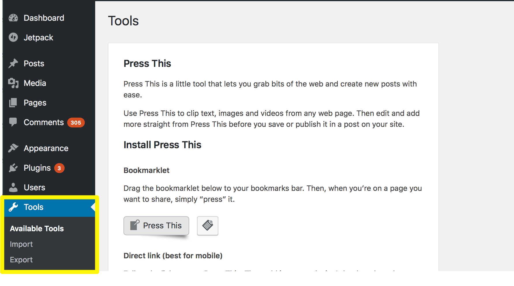 The 'Tools' section of the WordPress Dashboard.