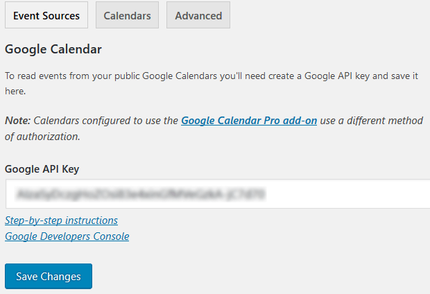 Embed Google Calendar - Simple Calendar - Google Calendar Plugin API Key Saved