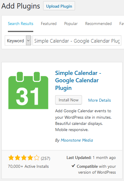 Embed Google Calendar - Simple Calendar - Google Calendar Plugin Installation & Activation