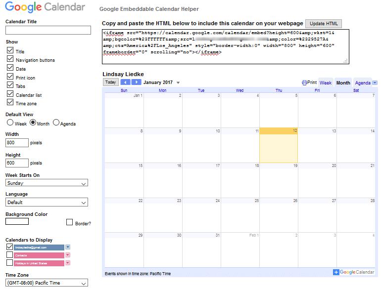Embed Google Calendar - Customize Calendar