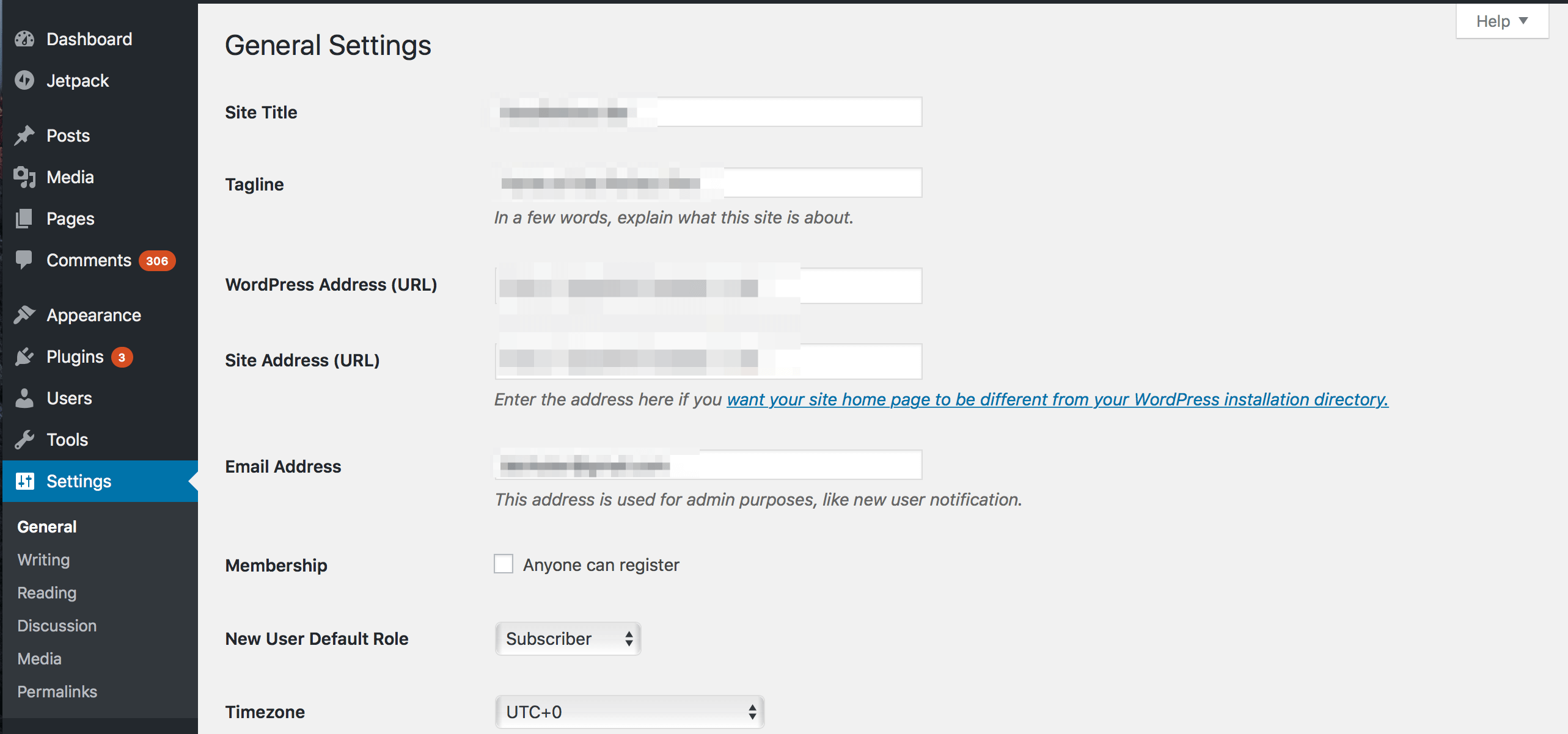 A glance at the WordPress settings panel.