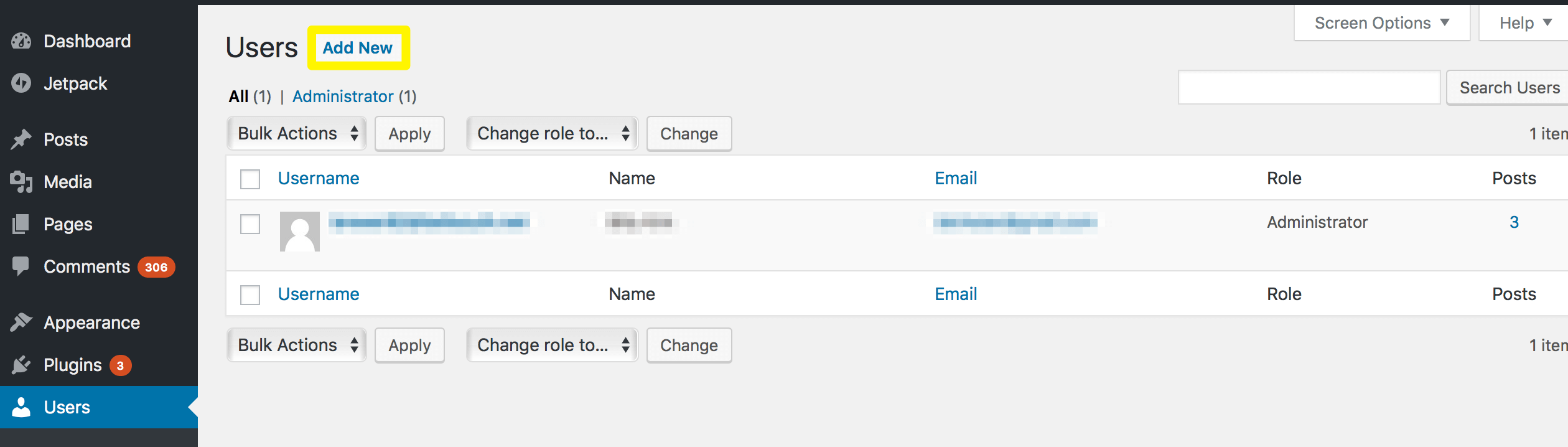 Adding a new WordPress user and assigning a role.
