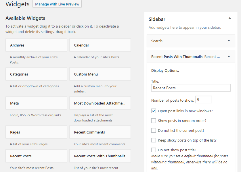 Settings screen for Recent Posts Widget with Thumbnails
