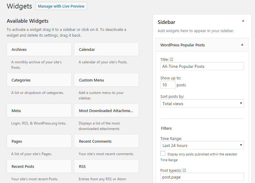 WordPress Popular Posts configuration options.