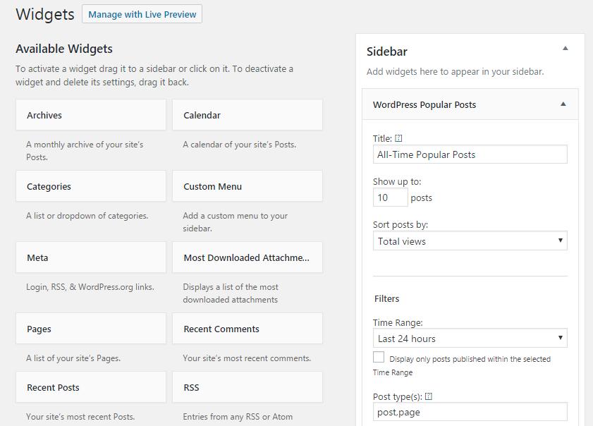 WordPress Popular Posts configuration options.