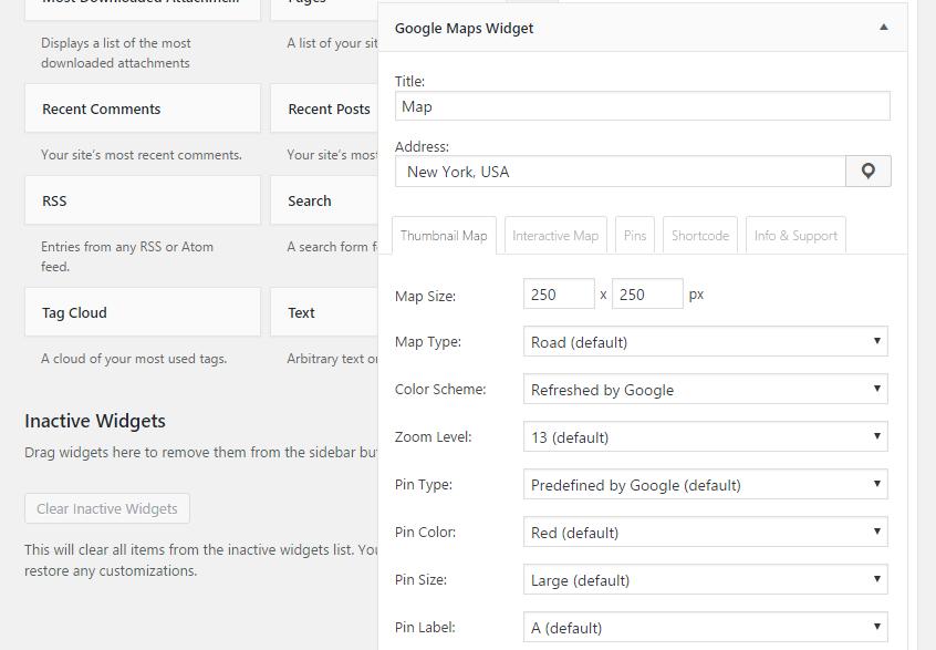 Google Maps configuration options
