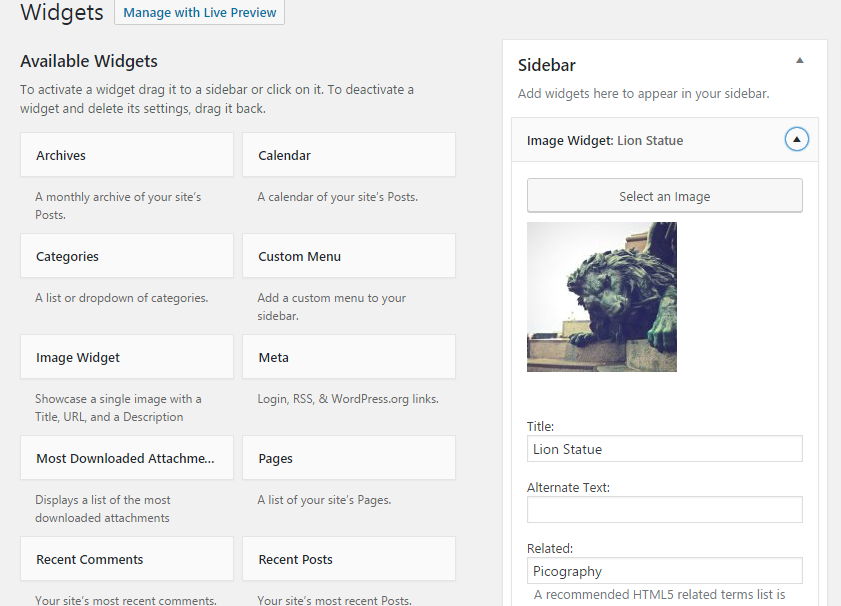 Configuration options for Images Widget