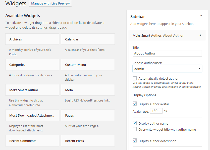 Configuration Options for Meks Smart Author Widget