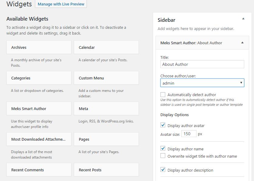 Configuration Options for Meks Smart Author Widget