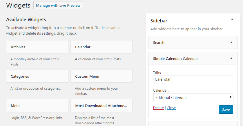 Simple Calendar configuration options