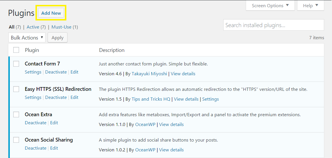 Add New plugin screen