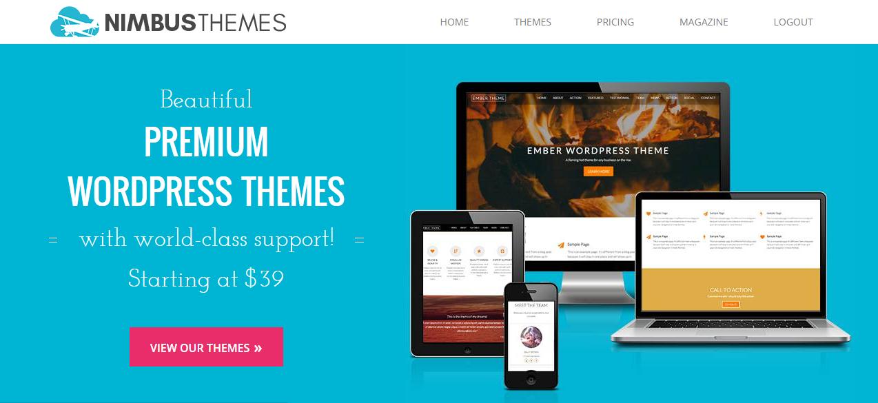 Nimbus Themes' homepage.