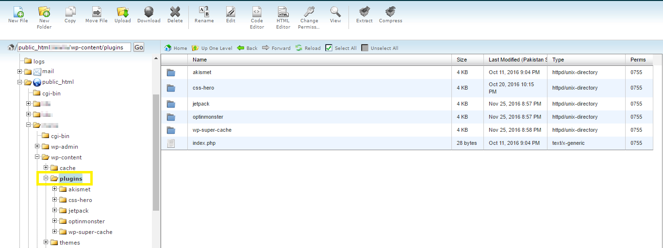 Bluehost cPanel File Manager interface.
