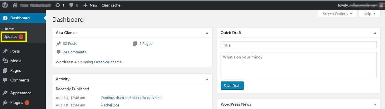 WordPress admin panel notification.