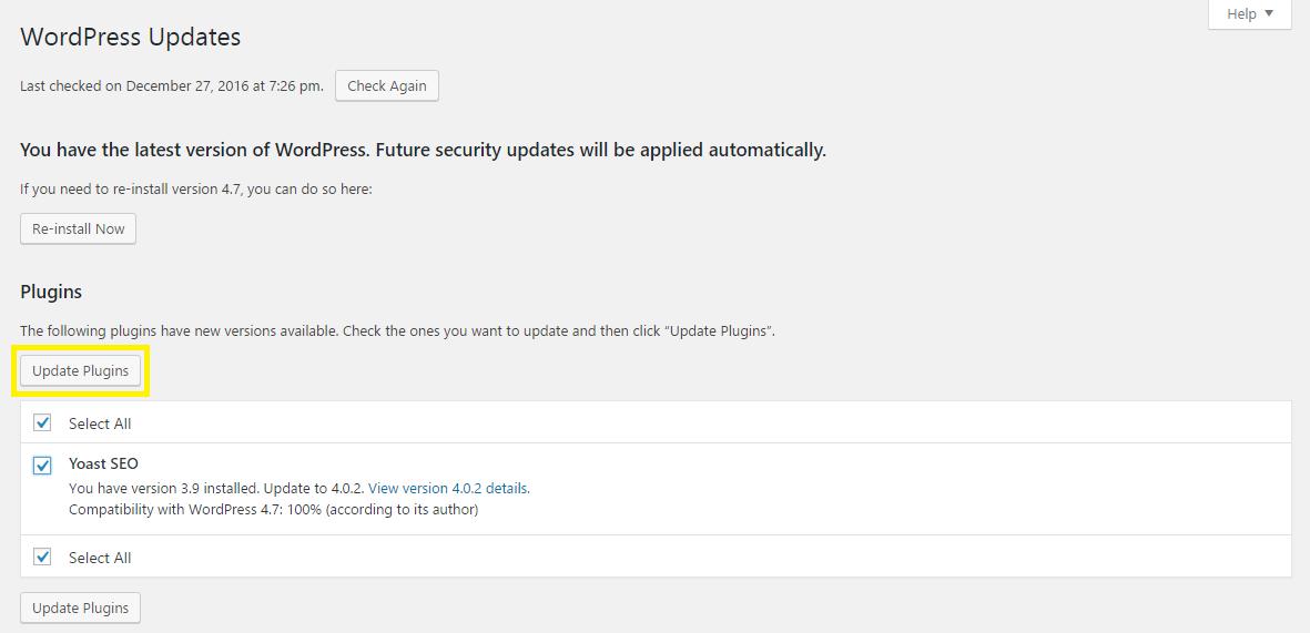 WordPress one-click plugin update screen.