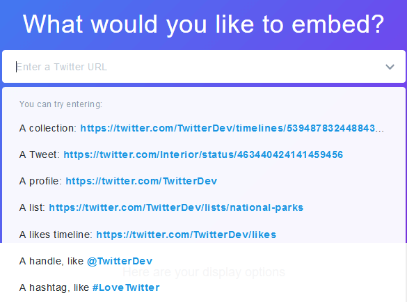 Native Twitter Widget Embed Options