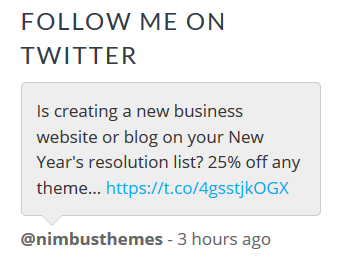 Twitter Feed for WordPress Example