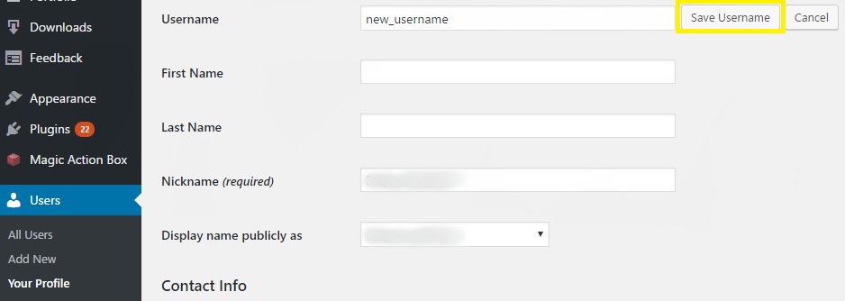 Saving the changes to your WordPress username.