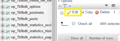The option to edit the users table.