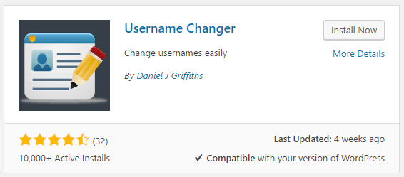 Installing the Username Changer plugin.