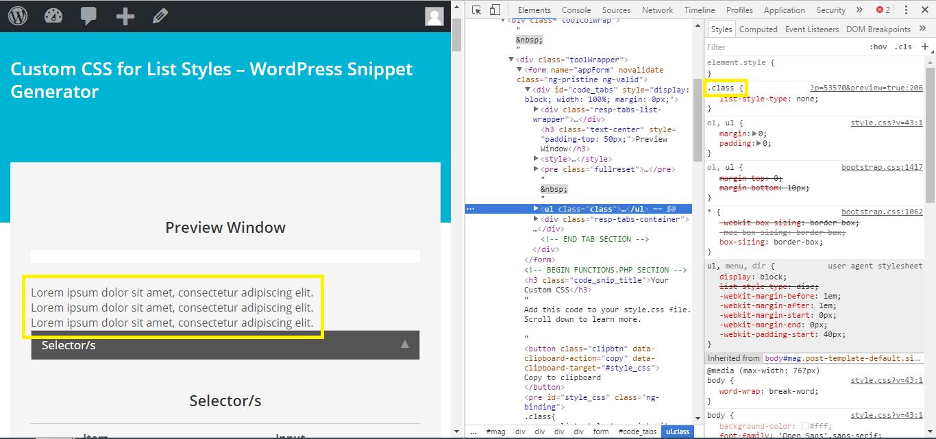 Custom CSS for List Styles - WordPress Snippet Generator