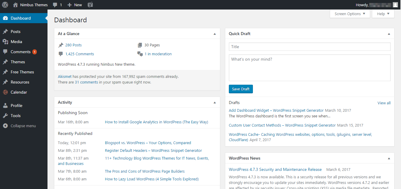 WordPress dashboard widgets