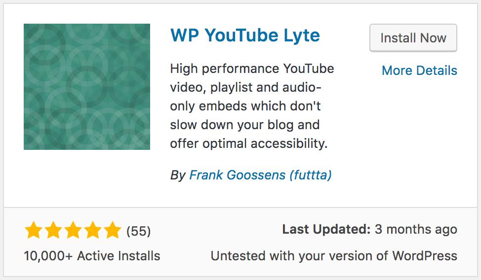 WP YouTube Lyte