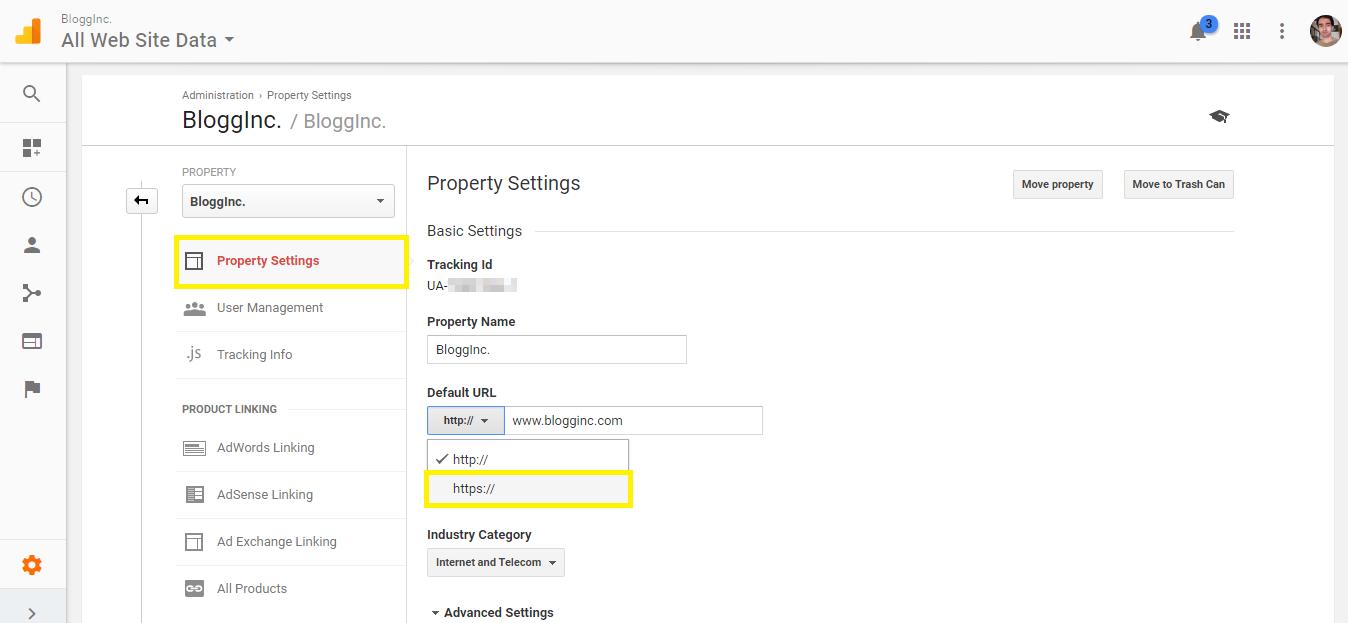 Property Settings screen