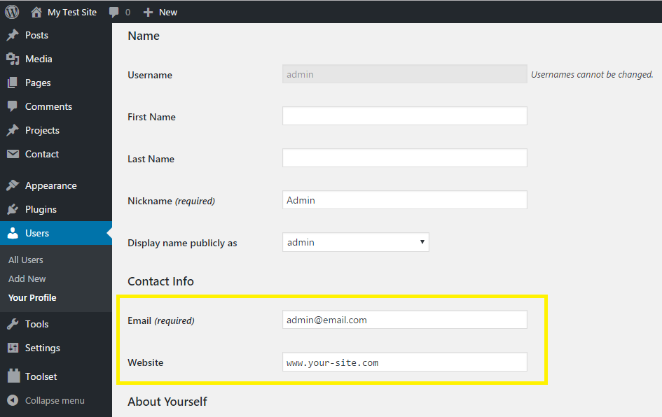Default user contact methods