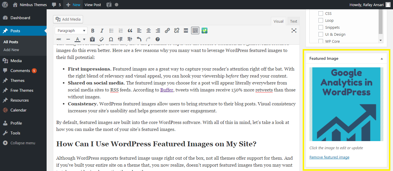 Featured image preview in widget.