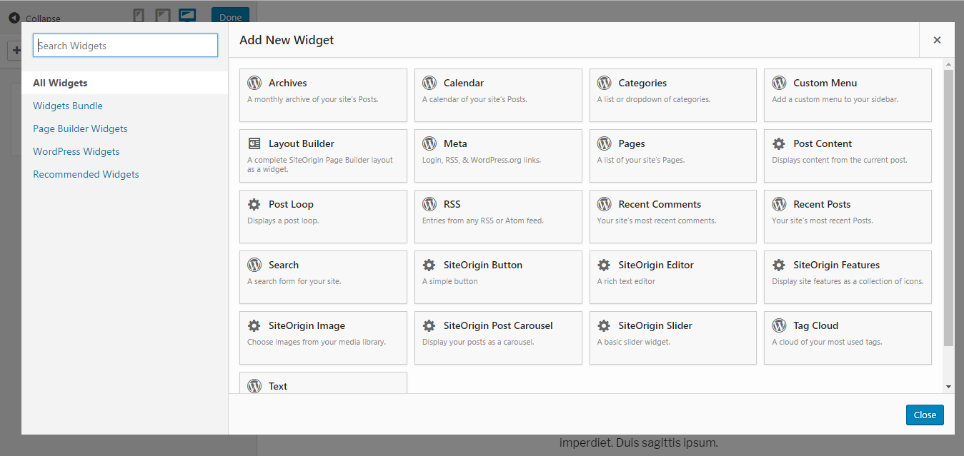 SiteOrigin widgets