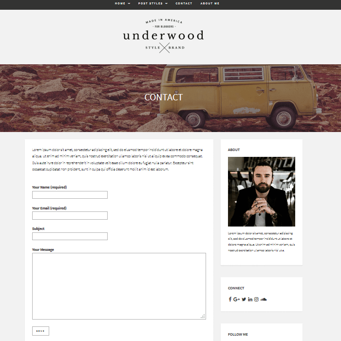 Underwood-WordPress-Blogging-Theme-Contact-Form