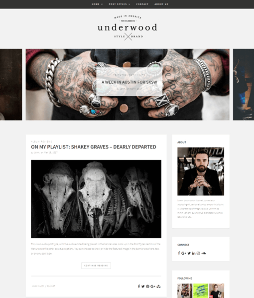 Underwood WordPress Blogging Theme