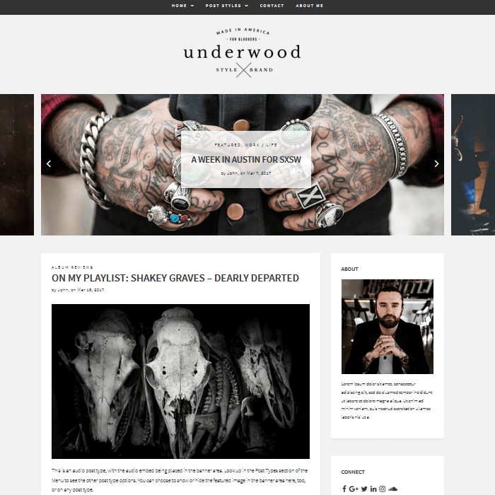 Underwood WordPress Blogging Theme Standard Front Page