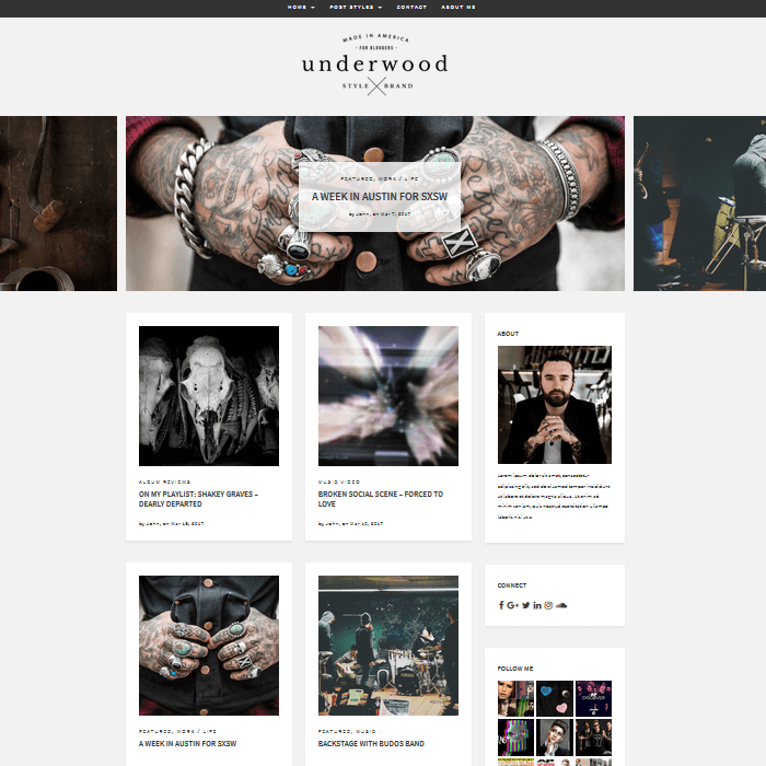 Underwood WordPress Blogging Theme Grid with Sidebar Front Page