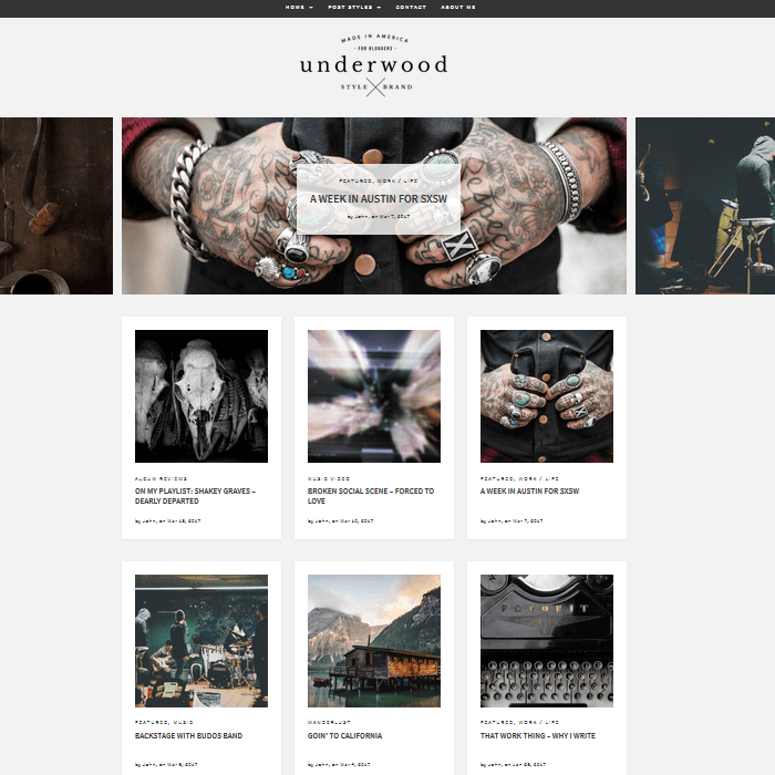 Underwood WordPress Blogging Theme Grid Full Width Front Page