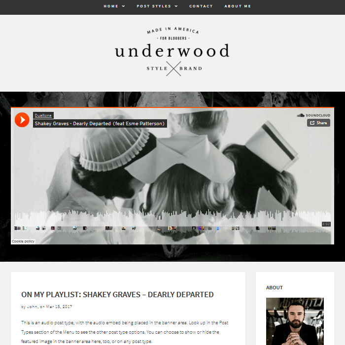 Underwood WordPress Blogging Theme Audio Banner Custom Post Format