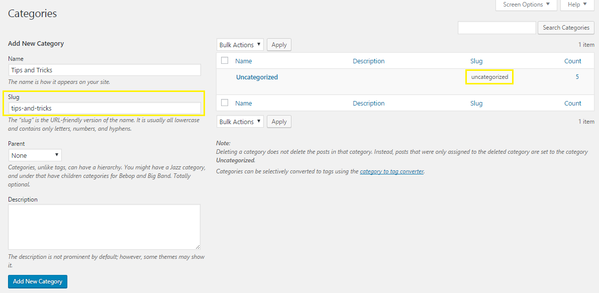 WordPress slugs in categories