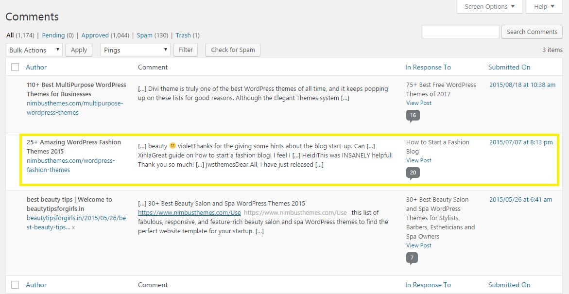 Pingbacks in WordPress