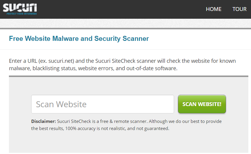 Sucuri SiteCheck tool
