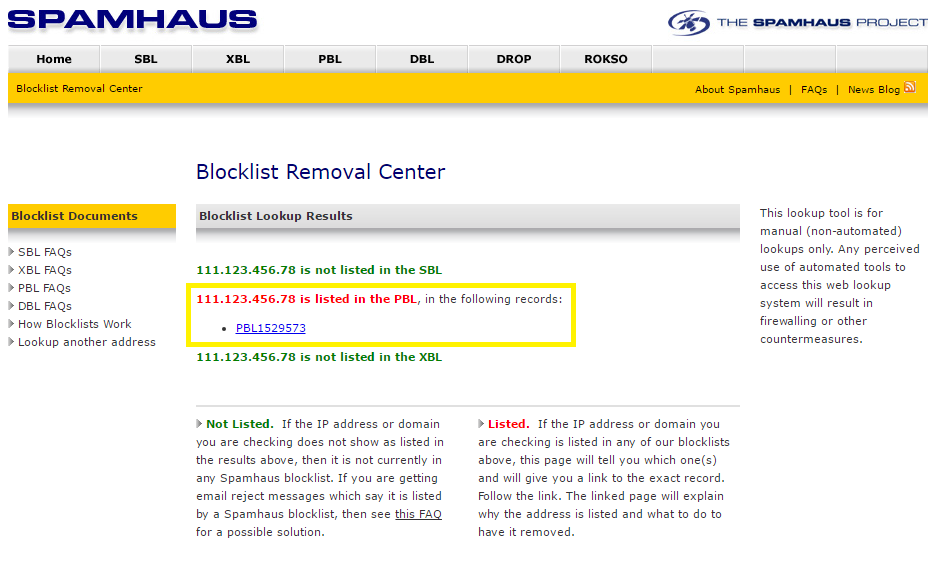 Blocklist Removal Center page