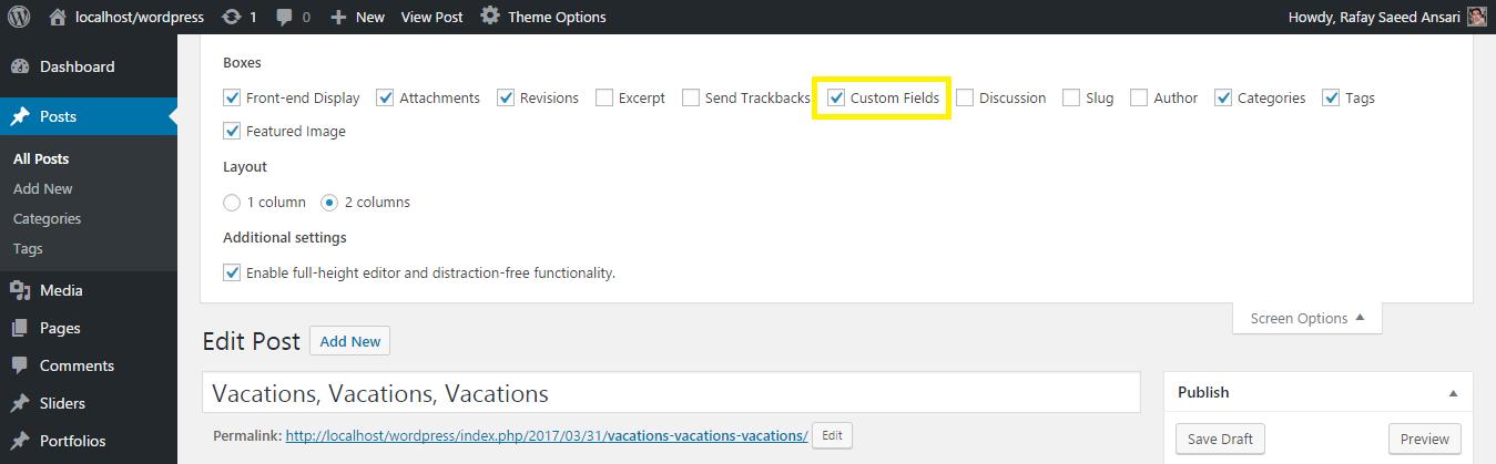 Custom fields option