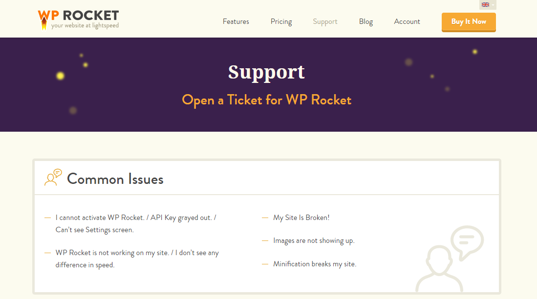 WP Rocket's Support page