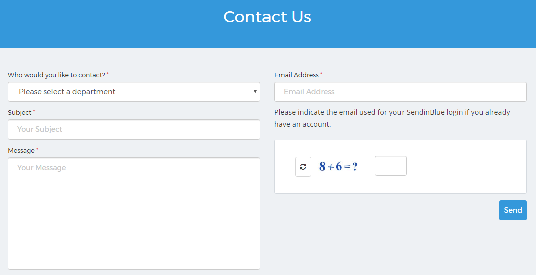 SendinBlue contact form
