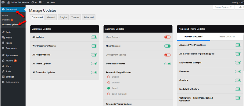 Dashboard in Easy Updates Manager